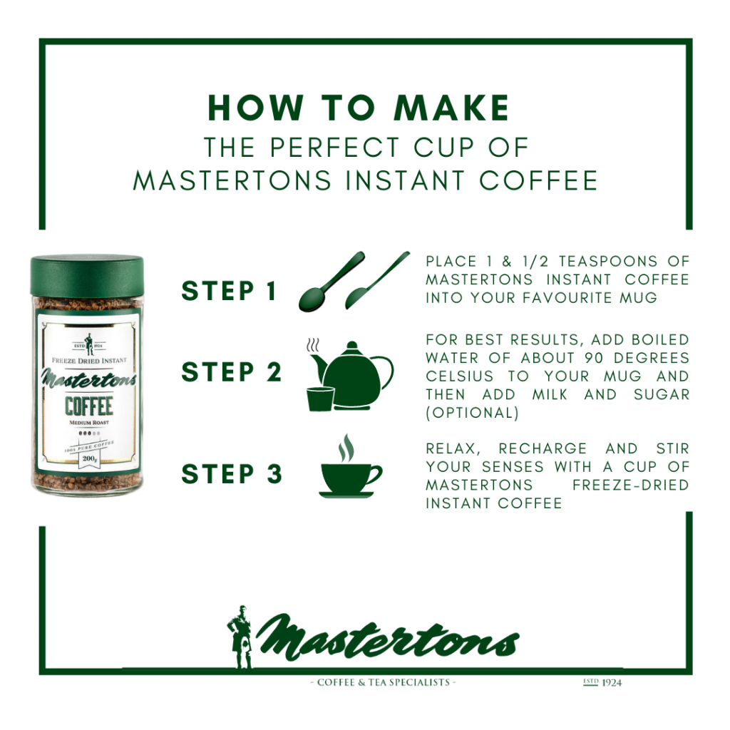 Steps to Making a Cup of Mastertons Instant Coffee